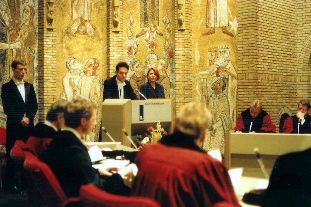 Dissertation defense at Maastricht University 1996, the Netherlands